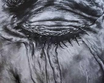 art, fine art, graphite, drawing, illustration, tears, eye, face