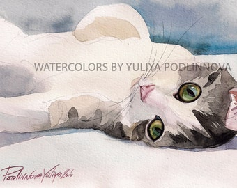 Tabby Calico White Cat Instant Download Image of my Watercolor Painting Printable Art Poster Digital Print  Cat Gift Idea Picture Artwork