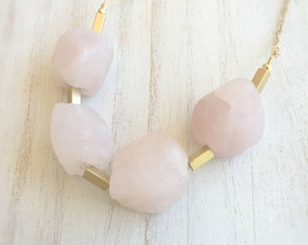 Rose Quartz Necklace | January Birthstone Jewelry | Raw Stone Nugget Necklace | Long Gold Necklace | Chunky Stone Necklace | Raw Quartz