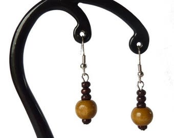 Light brown and dark brown wood earrings