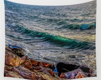 Wave Tapestry turquoise wave Tapestry Water Tapestry Sunshine Tapestry Photo Tapestry Sea tapestry Wall Hanging Sky Tapestry Sea Tapestry
