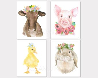 Watercolor Farm Animal Floral Art Prints Nursery Childrens Room Set of 4 Cow Pig Duckling Bunny PORTRAIT-Vertical Orientation
