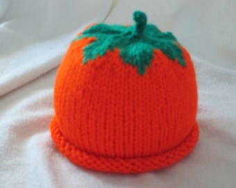 Kid's Knitted Pumpkin Hat