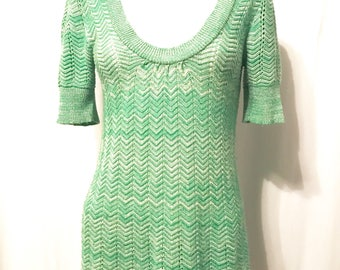 Knitted Sweater From 1970's Scoop Neck