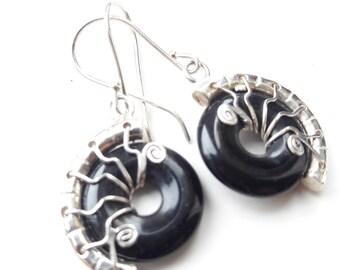 black earrings black onyx silver wire wrap drop earrings