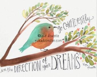 Go Confidently Watercolor Bird