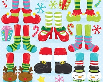 80% OFF SALE Christmas feet clipart commercial use, holiday feet vector graphics, digital clip art, digital images  - CL761