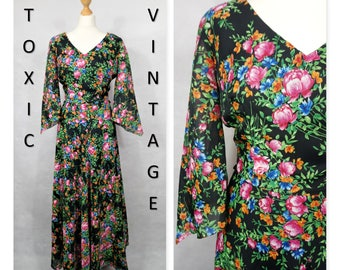 VINTAGE 1960's 1970's Black FLORAL V neck MAXI Dress. Uk Size 12. Boho, Chic, Elegant, Retro, Asymmetric Sleeves, Bright, Colourful, Evening