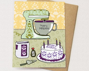 Vintage Mixer Card Birthday - blank inside - i love my mixer, cake card