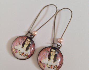 Earrings dangling cabochons - Gustav Klimt - femmz portrait - pink