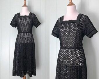 1940s Black Cotton Circles Eyelet Dress | 40s Short Sleeve Velvet Trim Day Dress | Vintage Retro Square Neck Polka Dot Nipped Waist Dress