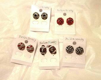 Baseball, Football, Soccer, Basketball, Volleyball-  Earrings- Sparkle  crystals  - 1cm