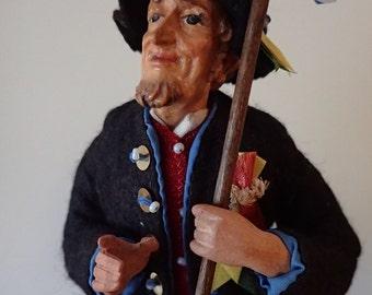 Vintage Bavarian Hochzeitslader souvenir doll 1950's