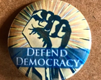 Blue Defend Democracy Pinback Button, Election Pin, Raised Fist Election Magnet, backpack pins, custom pins and patches, Punk boho buttons
