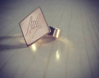 I Love You ASL Jewelry ,Deaf I Love You Ring, Gift For Her, Love Ring, ASL I Love U Gift Ring, Gold Plated Ring, I Love You Sign Language