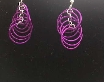 Magenta Spiral Earrings