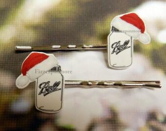 Mason Jar W/Hats Inspired Hair Pins Set of 2 Handcrafted Holiday/Christmas