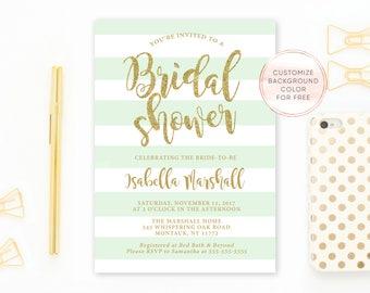 Bridal Shower, Bridal Shower Invitation, Mint Bridal Shower, Mint Green Bridal Shower Invitation, Mint and Gold, Bridal Shower, Gold [668]