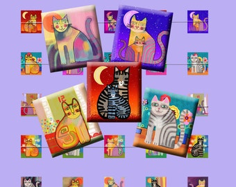 FUNKY CATS - Digital Collage Sheet .75 x .83 inch Scrabble Tile Images. Pendants, magnets, earrings, scrap-booking. Instant Download #213.