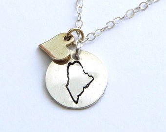 Moving Gift • State Necklace • Choose Any State • State Outline • Travel Necklace • Personalized Hand Stamped • Tiny State Necklace • Map