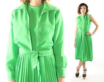 Vintage 70's Pleated Dress Sleeveless Matching Jacket Set 1970s Lime Green Medium M Large L