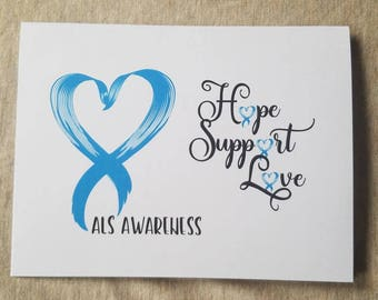 D2 ALS Awareness Thank you Blank Note Cards Fundraising for a Cure. Lou Gehrig's Disease Support Blue White Stripe Ribbon Design