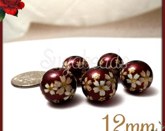 4 Deep Red Japanese Flower Beads - Glass Flower Beads - Floral Saruka Beads 12mm