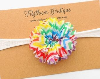 Rainbow baby headband - Rainbow baby bow - Rainbow hair bow - Miracle baby headband - Rainbow of hope -