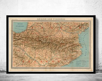 Old Map of Pyrenees Pirineus 1920 France Spain
