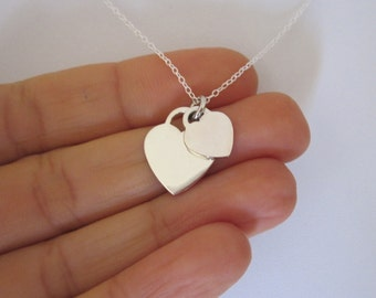 TWO HEART plain sterling silver charm with chain necklace, Love, Valentine's Day minimalistic jewelry