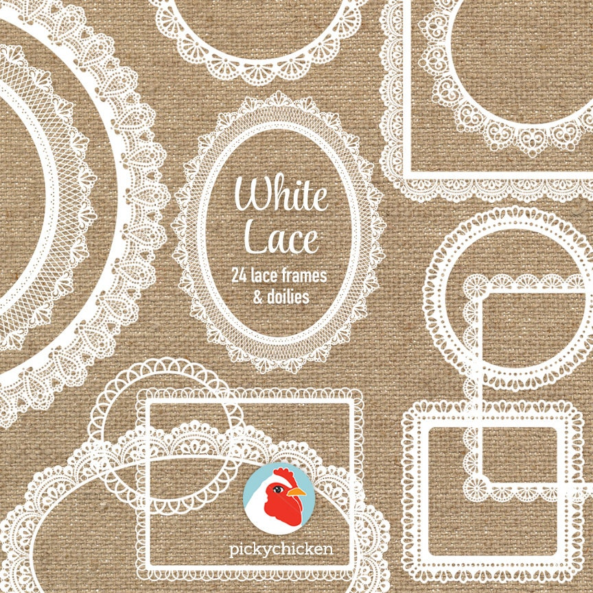 Lace Clip Art - 24 white lace frames doilies - doily wedding shabby ...