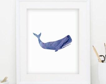 Whale Art Whale Print Whale Decor Gray Whale Print Whale Watercolor Art Blue Whale Print Blue Wall Art Coastal Decor Minimalist Art 0099