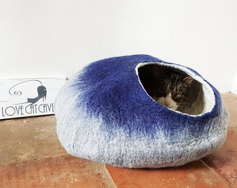 Larger Cat Bed Cat Cave Cat House Grey and Blue Felted - Free Cat Ball