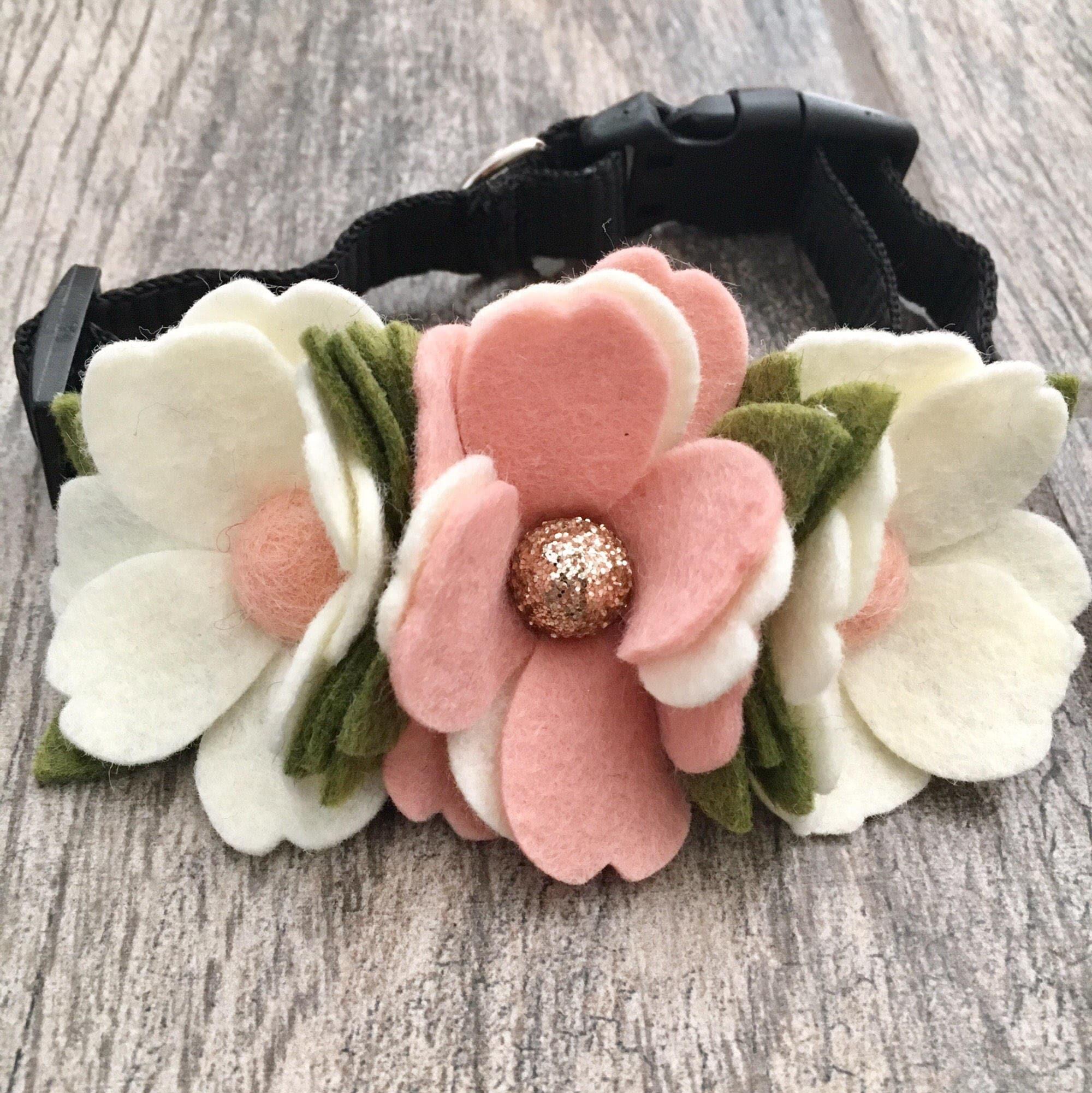 Dog wedding collar pink flowers Wedding accessories Dog