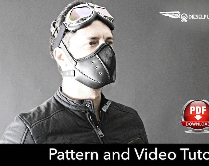 Steampunk Mask Pattern - DIY Pattern - Halloween Mask DIY - Leather mask DIY - Pdf Download