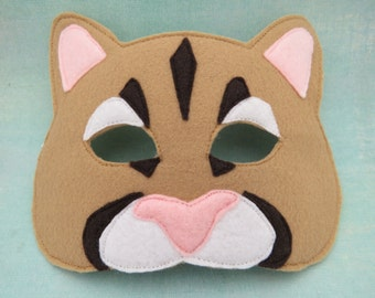 Cat Mask - Cougar Mask - Mountain Lion - Puma - Jungle Cat - Wild Cat - Lioness