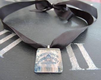 OUIJA Board  Glass Tile Necklace (Black Satin)