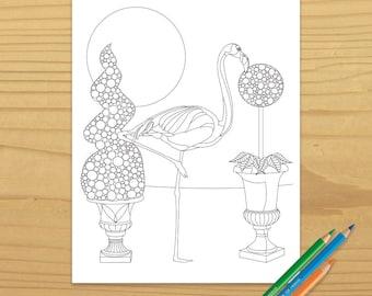 Flamingo Coloring Page, Bird Coloring Page, Topiary Coloring Page, Garden Coloring Page, Animal Coloring Page, Digital Download
