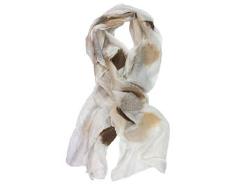 Nuno Felted Silk Scarf in White with Shades of Brown