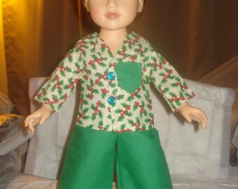 SALE - Handmade holiday pajamas in a fun holly & berry print for 18 inch Dolls - ag211