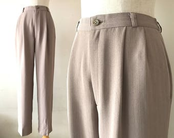 """High waisted pants, size S / M """"Giada"""" beige carrot leg pants, high waisted trousers, basic trousers, japanese vintage clothing, 80s pants"""