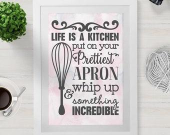 Life is A Kitchen SVG Cut File - kitchen svg, svg, svg files, cooking svg, svg files for cricut, kitchen svg files, kitchen cut file