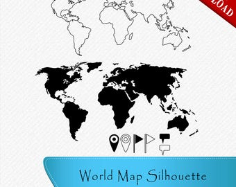 Vector world map svg files for cricut world map cutting files world map svg world map silhouette pins flags textbox clipart cut vector digital download svg dxf eps png gumiabroncs Gallery