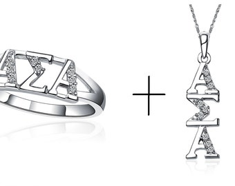 "Alpha Sigma Alpha Ring, Horizontal Design, Sterling silver and a Necklace with 18"" (ASA-R001+P001)"