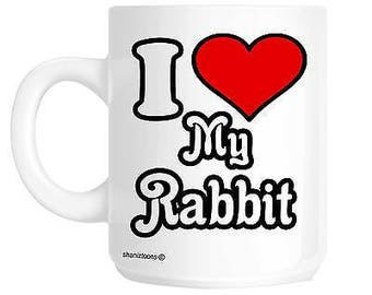 I love my rabbit novelty gift mug