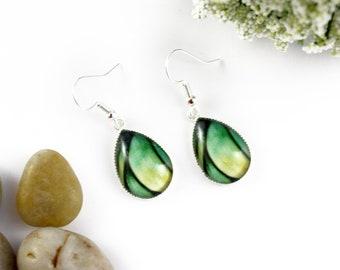 Light Green Earrings - Teardrop Glass Earrings - Stained-Glass Earrings - Silver Earrings - Art Nouveau Art - Lime Green Earrings - Mosaic