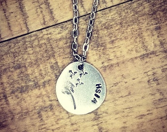 Wish- Pewter Pebble Hand Stamped Necklace