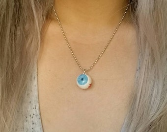 Eyeball charm necklace - evil eye charm