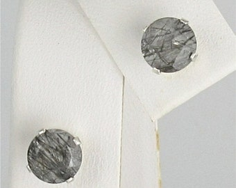 Memorial Day Sale Tourmalinated Quartz 6mm 1.50ctw Stud Earrings Sterling Silver Natural Untreaded