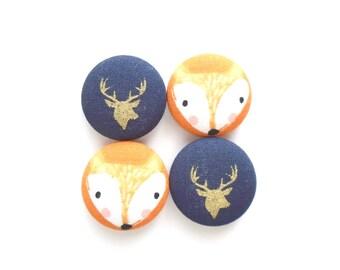 Fox Magnets, Deer Magnets, Blue Magnets, Orange Magnets, Fridge Magnets, Fabric Magnets, Cute Magnets, Handmade Magnets, Teacher Gift